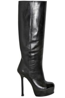 Yves Saint Laurent 140mm Tribtoo Leather Patent Toe Boots - Lyst