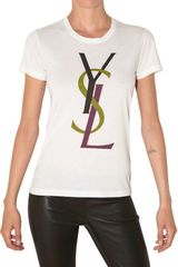 Saint Laurent Logo Printed Cotton Jersey Tshirt - Lyst