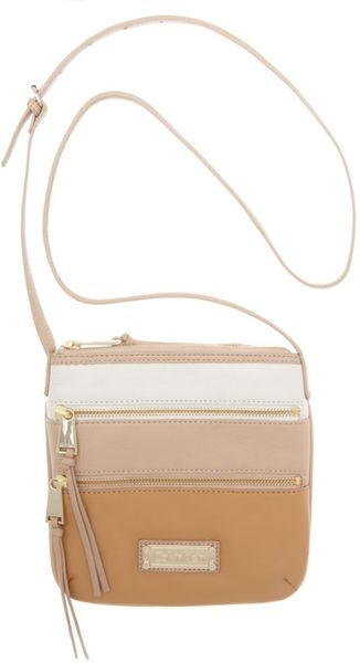 Calvin Klein Colorblock Leather Crossbody in Brown (camel combo) - Lyst