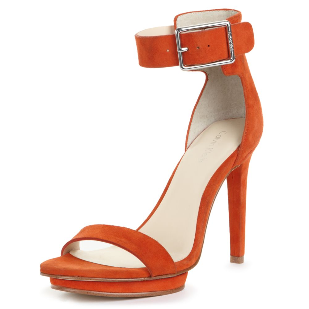 Calvin klein Vivianne Strappy Sandals in Orange | Lyst
