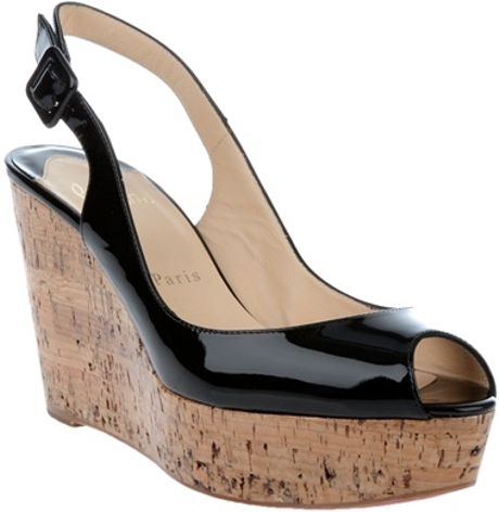 Christian Louboutin Cork Wedges in Black - Lyst