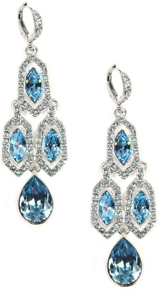 Givenchy Silver Tone Aqua and Sapphire Crystal Chandelier Earrings - Lyst