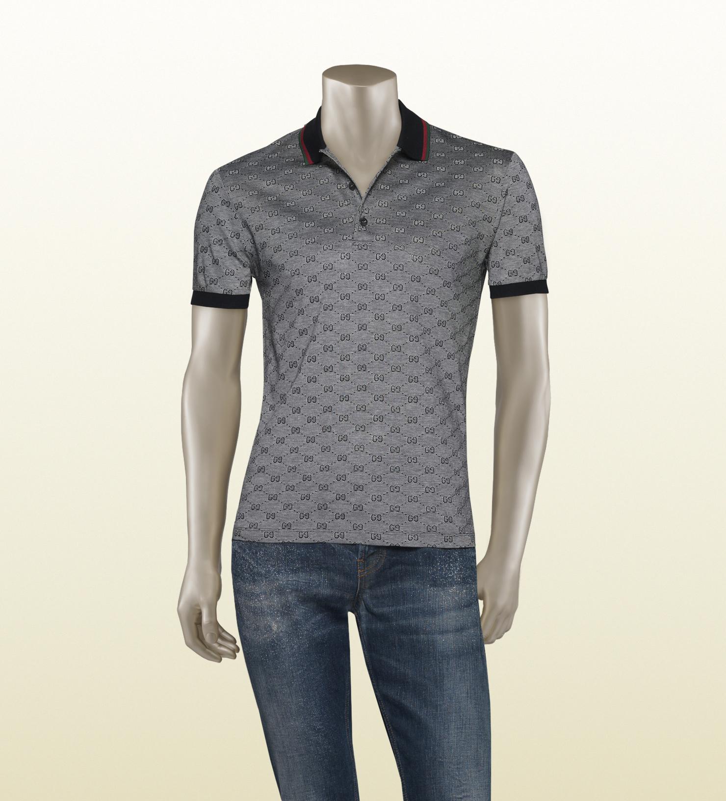 48366e33691 Lyst - Gucci Piqué Gg Jacquard Short Sleeve Polo in Gray for Men