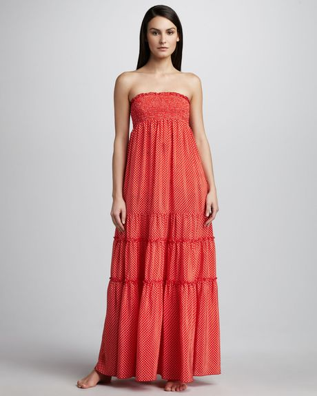 Juicy Couture Polkadot Smocked Maxi Dress in Red (tomato multi) - Lyst