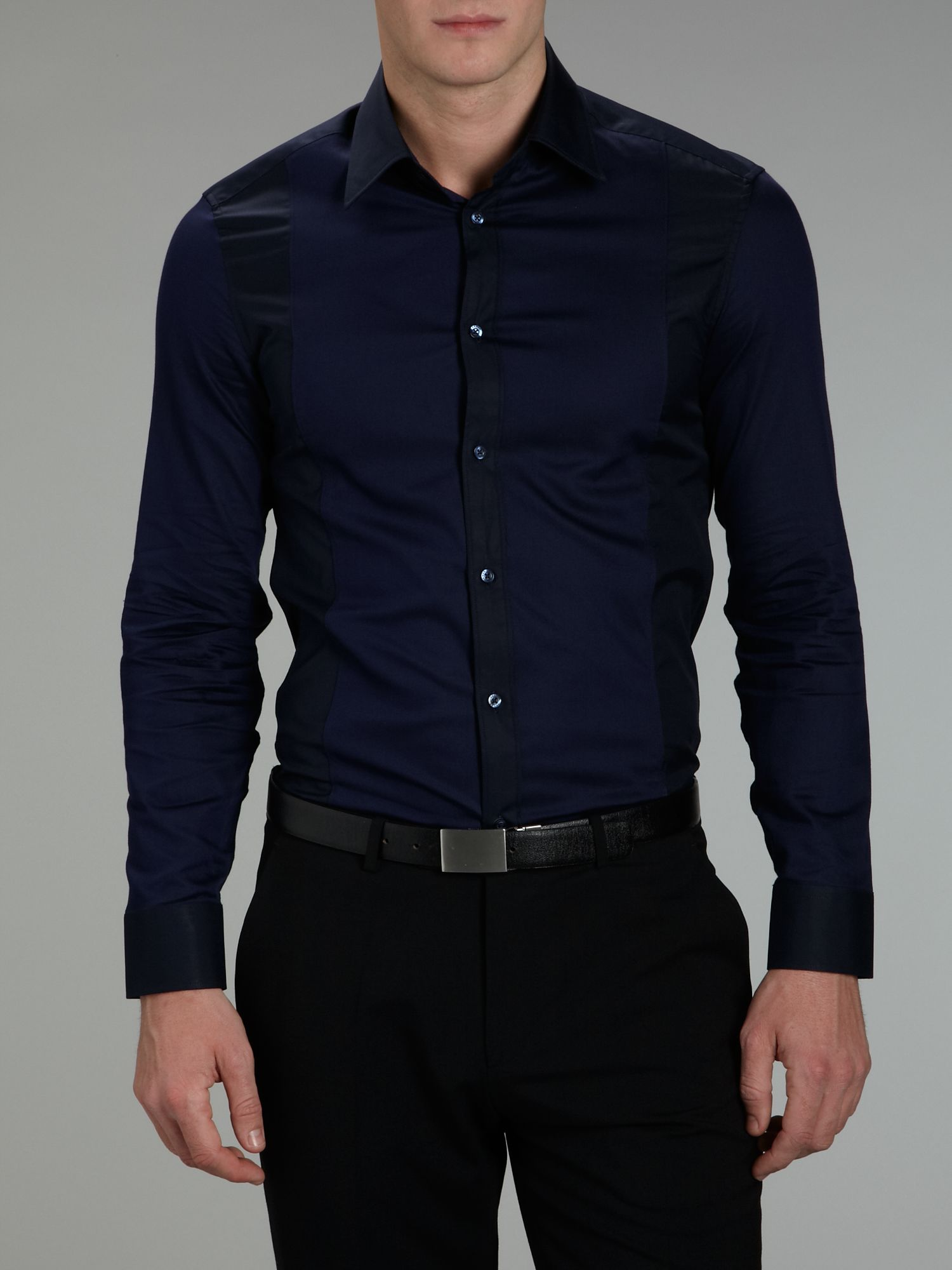 Kenzo Long Sleeve Panel Dress Shirt in Blue for Men  Lyst