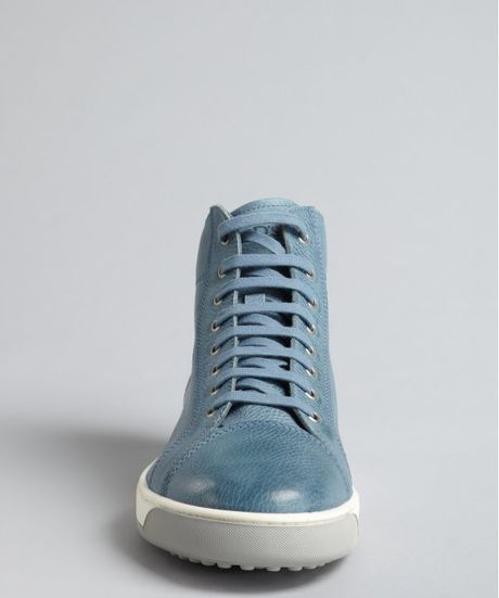 Tod S Light Blue Leather Lace Up Ankle Boots In Blue For