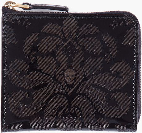 Alexander Mcqueen Glossed Floral Zip Wallet in Black for Men (floral) - Lyst