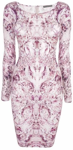 Alexander McQueen Mother Of Pearl Print Jersey Dress - Lyst