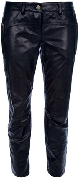 Balmain Leather Capri Trousers in Black - Lyst
