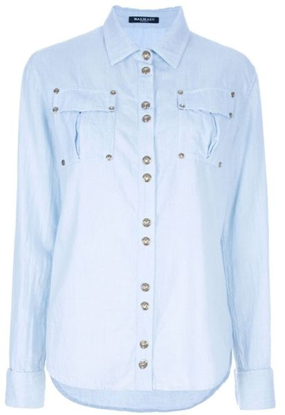 Balmain Washed Denim Shirt in Blue - Lyst