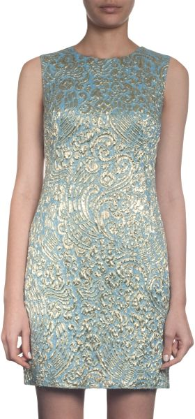 Dolce & Gabbana Brocade Shift Dress in Blue - Lyst