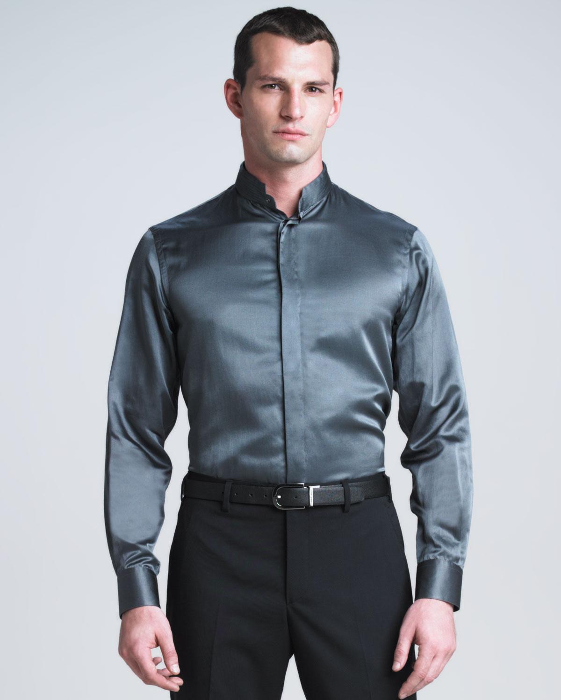 Giorgio armani stretch silk mandarin collar shirt in blue for Chinese collar shirts for men
