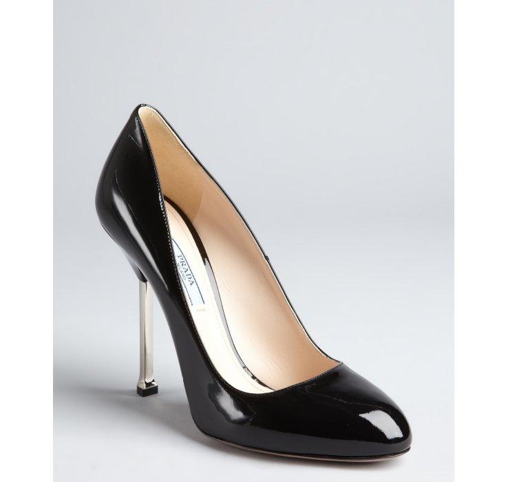 Prada Black Patent Leather Silver Heel Pumps in Black | Lyst