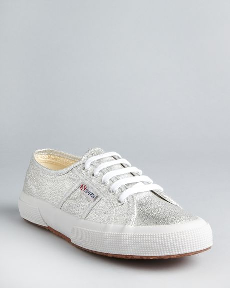 Superga Classic Lame Sneakers in Silver - Lyst
