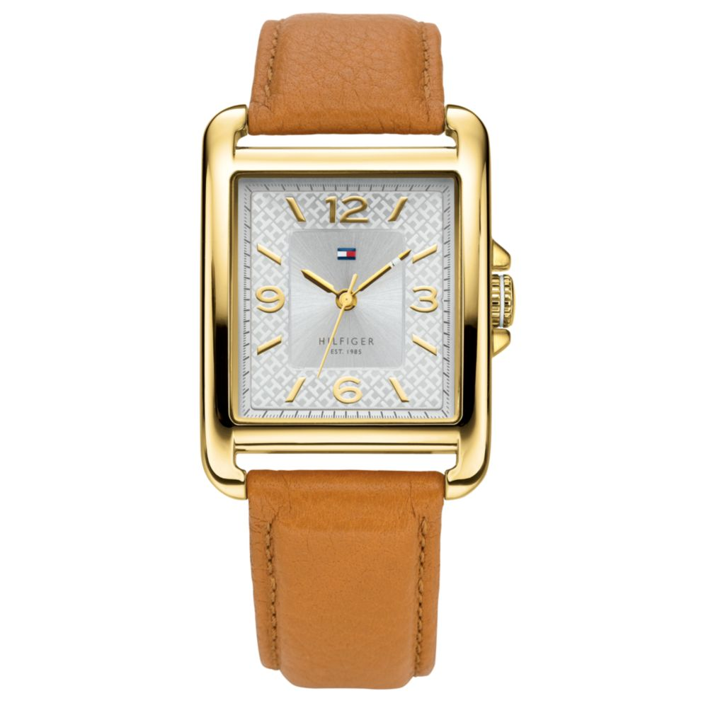 f8aad884f8e5 Lyst - Tommy Hilfiger Womens Tan Leather Strap Watch in Natural