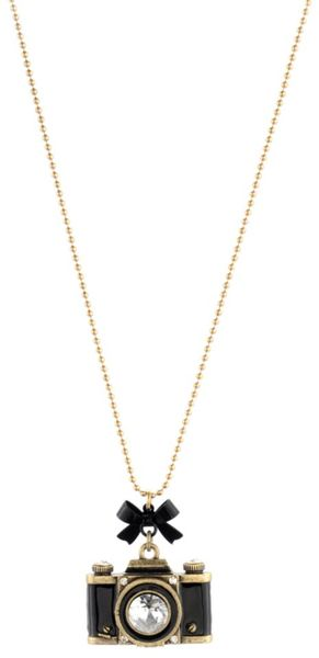 Betsey Johnson Gold Tone Camera Pendant in Gold - Lyst