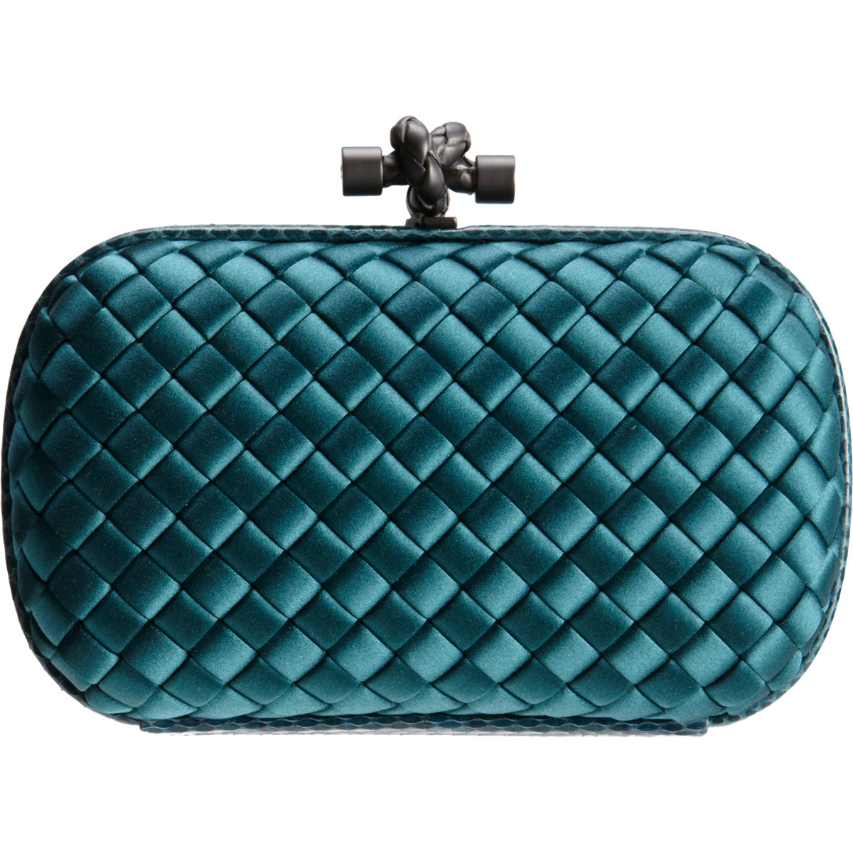 ab65470194 Bottega Veneta Knot Intrecciato Satinsnakeskin Clutch in Blue - Lyst