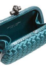 Bottega Veneta Knot Intrecciato Satinsnakeskin Clutch in Blue (teal) - Lyst