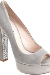 Miu Miu Glitter Embellished Peep Toe Pump in Gray (grey) - Lyst