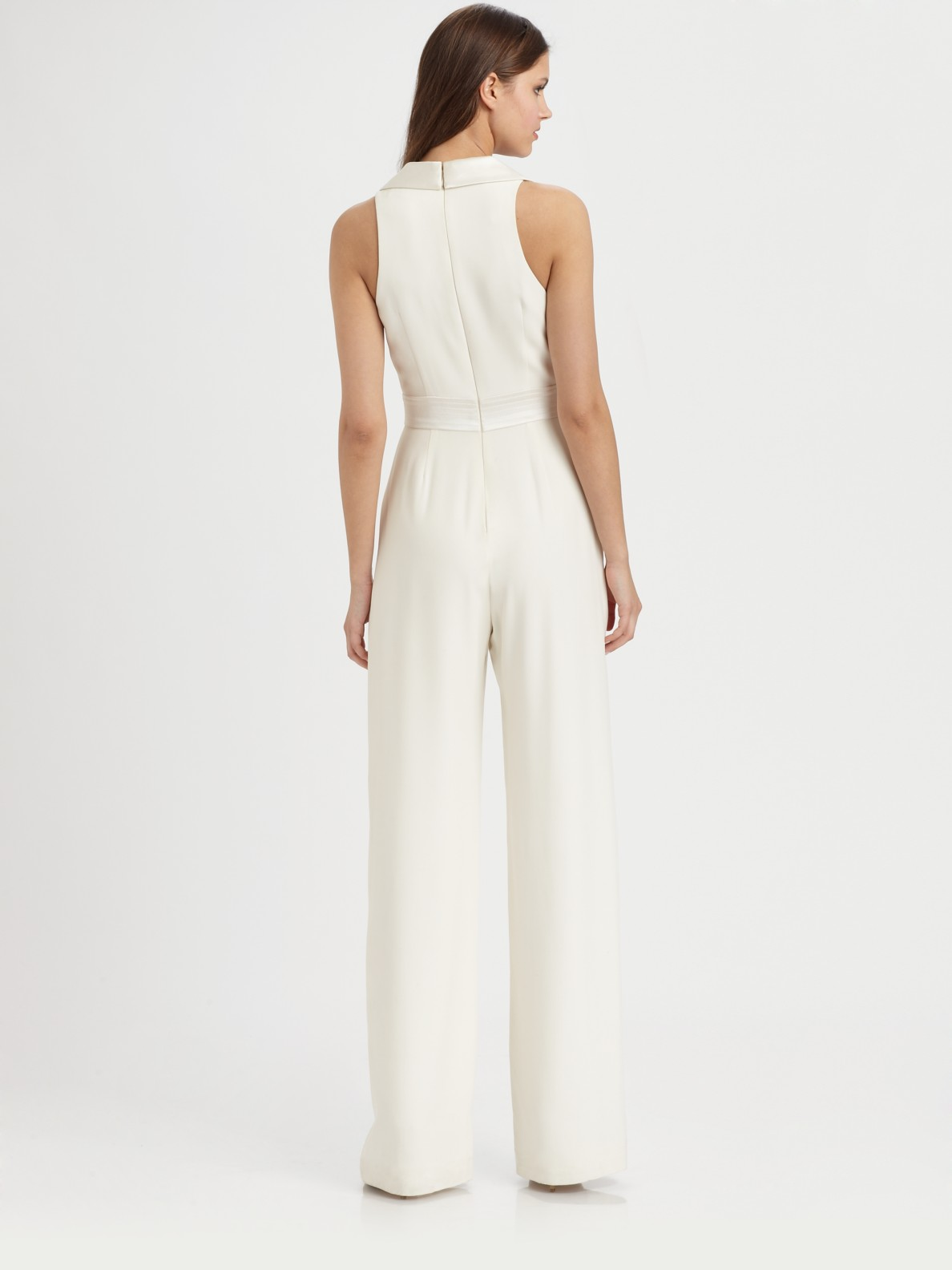 b1ee96a71e Lyst - THEIA Silk Jumpsuit in White