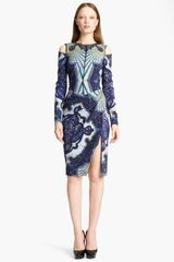 Emilio Pucci Cutout Shoulder Stretch Wool Dress in Blue (purple multi) - Lyst