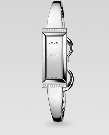 Gucci GFrame Diamond Stainless Steel Rectangular Watch in Silver - Lyst