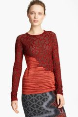 Missoni Marble Stitch Space Dye Sweater in Red (maroon) - Lyst