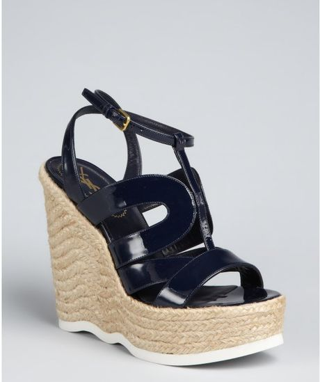 Yves Saint Laurent Navy Patent Leather Strappy Wedge Saint Malo Espadrilles in Black (navy) - Lyst