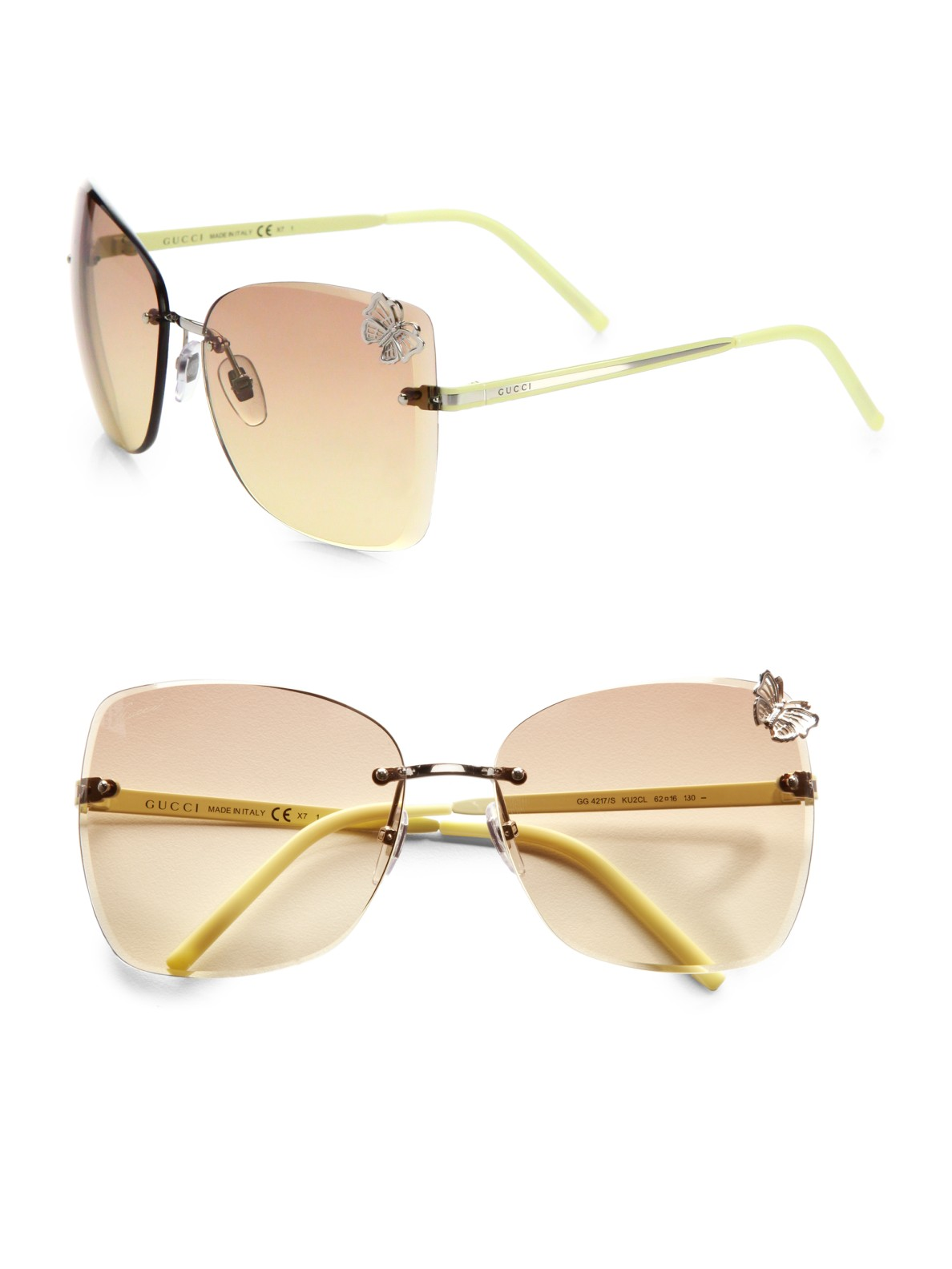 Rimless Butterfly Glasses : Gucci Rimless Butterfly Sunglasses in Metallic Lyst