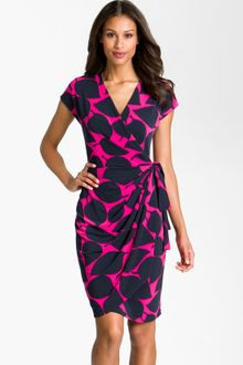 Maggy London Leaf Print Jersey Wrap Dress - Lyst