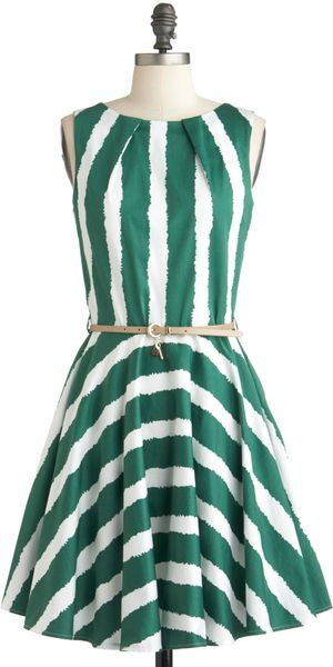 ModCloth Luck Be A Lady Dress in Green Stripe - Lyst