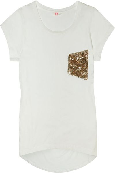 Sass & Bide Sequin Pocket White Tshirt in White - Lyst