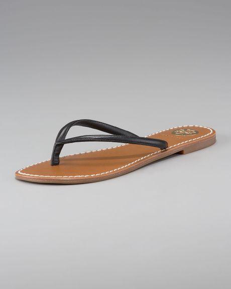 Tory Burch Abitha Leather Flip-Flops in Black
