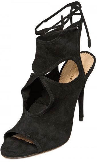 Aquazzura 110mm Soft Suede Cutout Sandals - Lyst