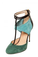Aquazzura 110mm Suede Calfskin Sandals in Green (multi) - Lyst