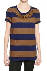 Burberry Prorsum Appliqué Stripey Cotton Jersey Tshirt - Lyst