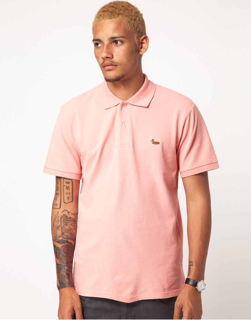 Lyst Carhartt Short Sleeve Duck Polo Shirt In Pink For Men