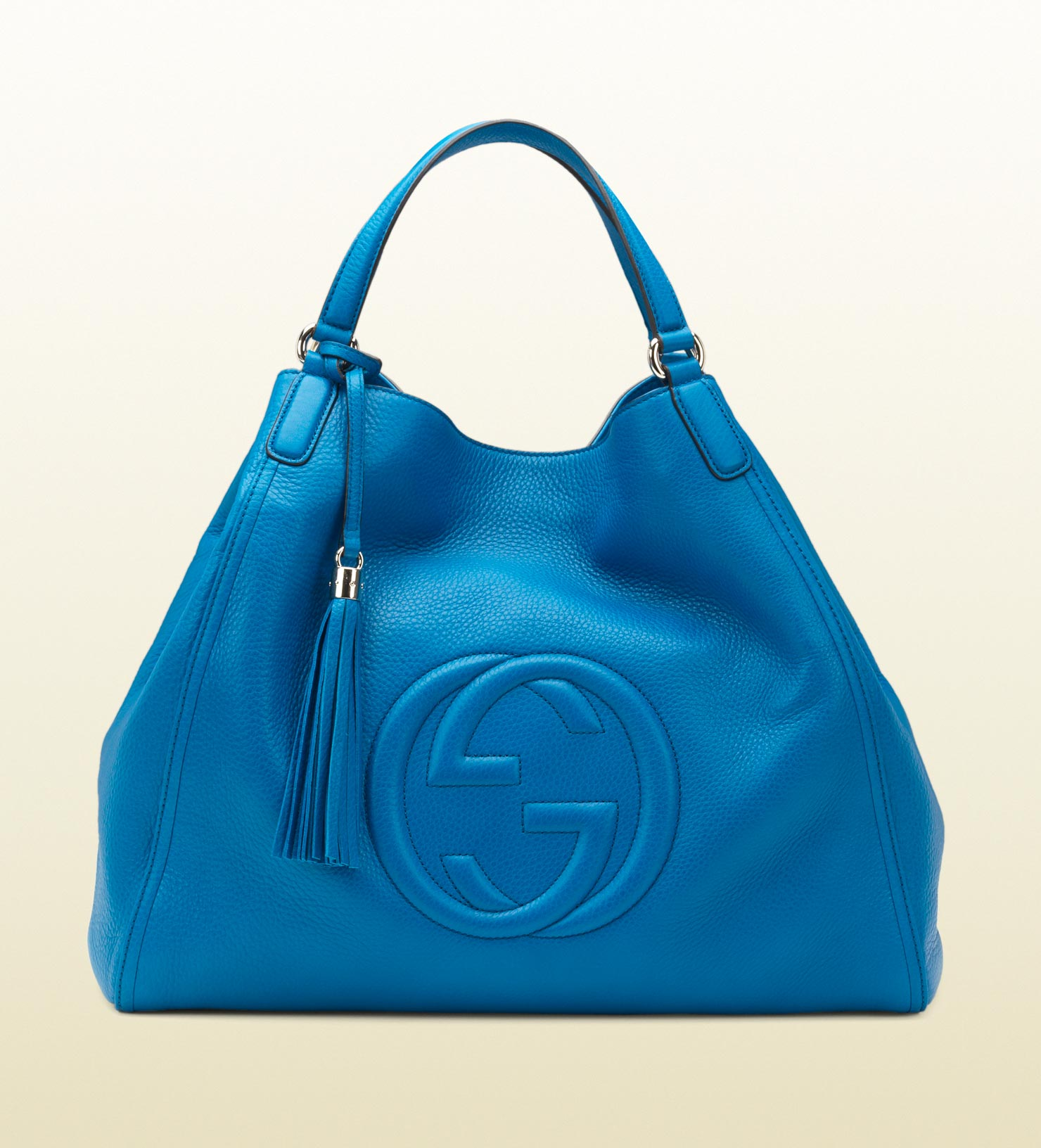 lyst gucci soho riviera blue colour leather shoulder bag in blue. Black Bedroom Furniture Sets. Home Design Ideas