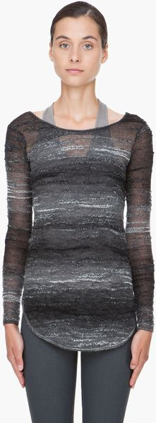 Helmut Lang Charcoal Mohair Blend Pullover in Gray (charcoal) - Lyst