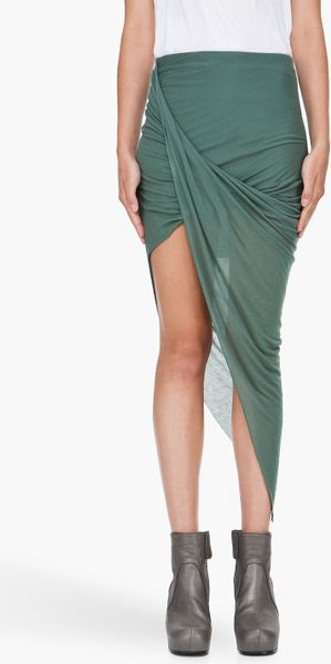 Helmut Lang Green Asymmetric Skirt in Blue (green) - Lyst