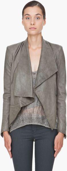Helmut Lang Grey Leather Jacket in Gray (grey) - Lyst