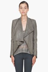 Helmut Lang Grey Leather Jacket - Lyst