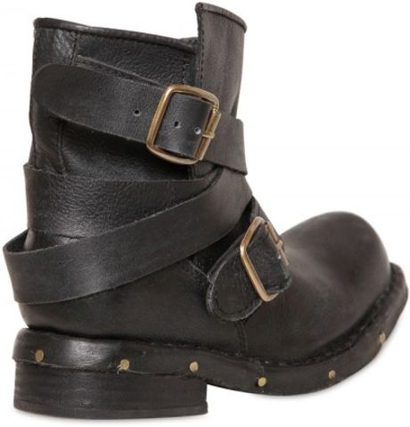 Jeffrey Campbell 40mm Calf Belted Low Biker Boots In Black Lyst