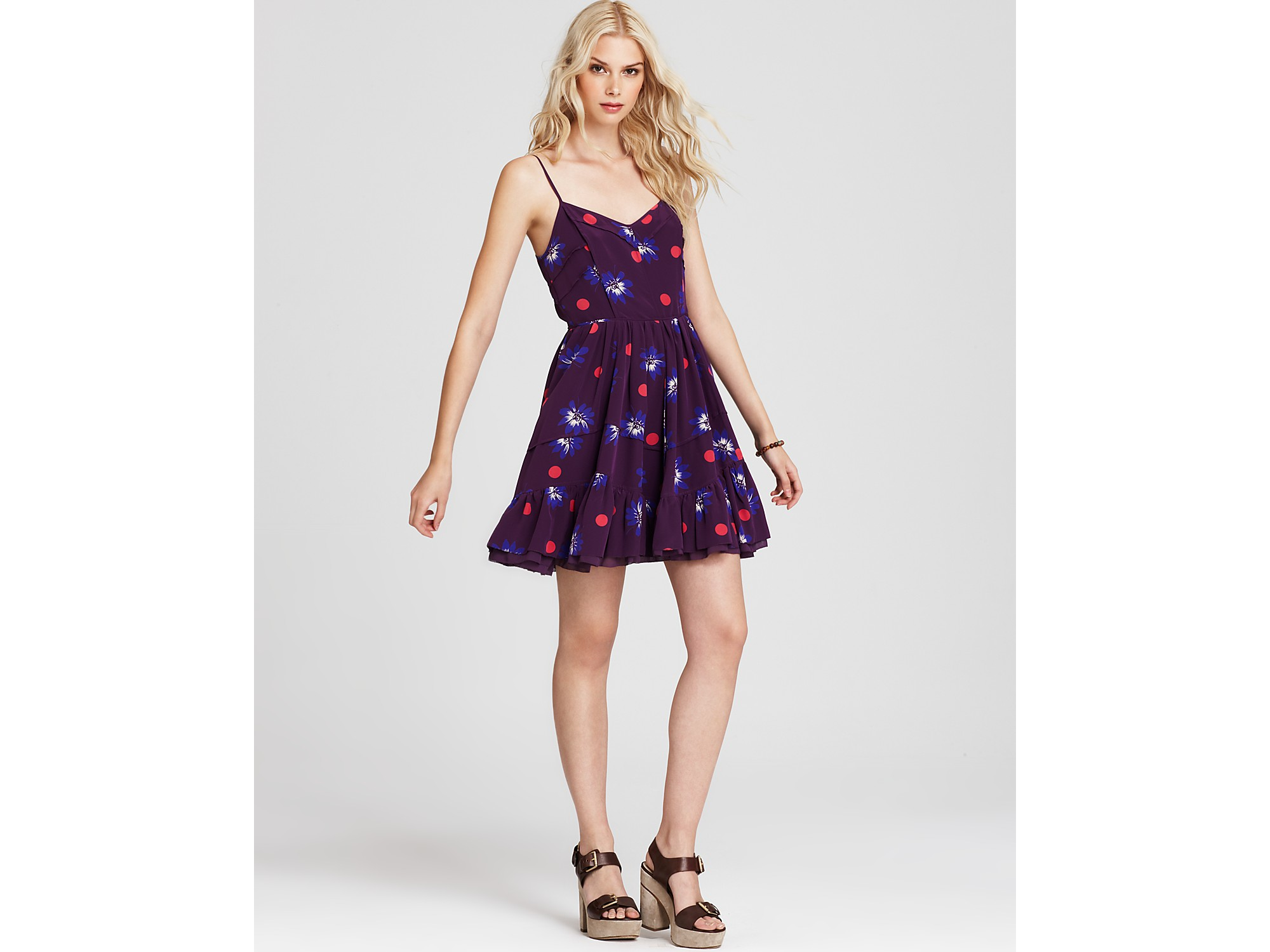 Lyst - Juicy Couture Polka Dot Floral Silk Dress in Purple