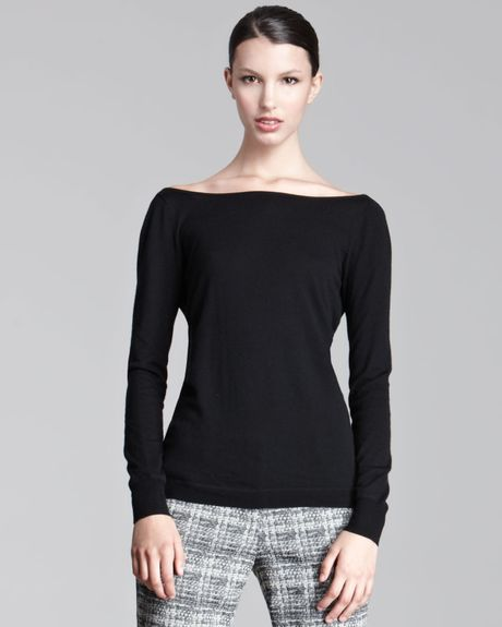 Lela Rose Vback Sweater in Black - Lyst