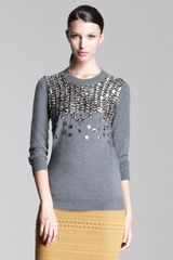 Lela Rose Embellished Crewneck Sweater - Lyst