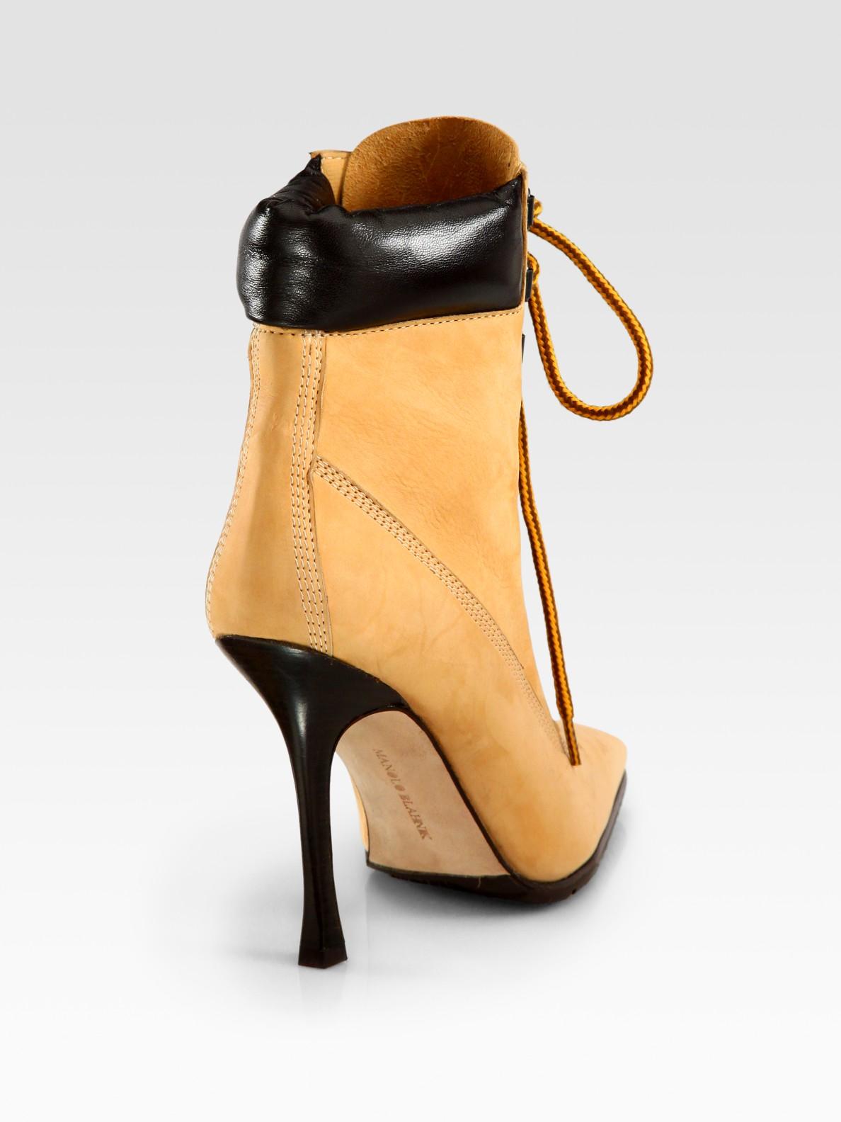 manolo blahnik denim lace up ankle boots