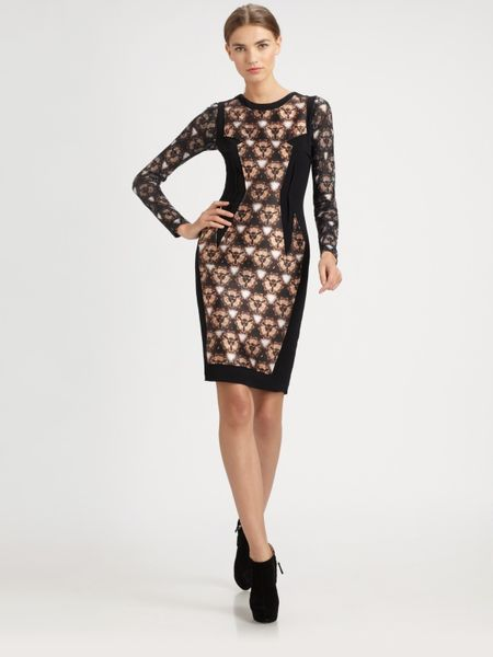 Prabal Gurung Printed Panel Dress in Brown - Lyst