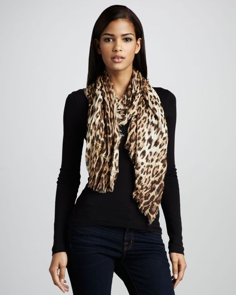 Roberto Cavalli Leopardprint Stole in Animal (one size) - Lyst