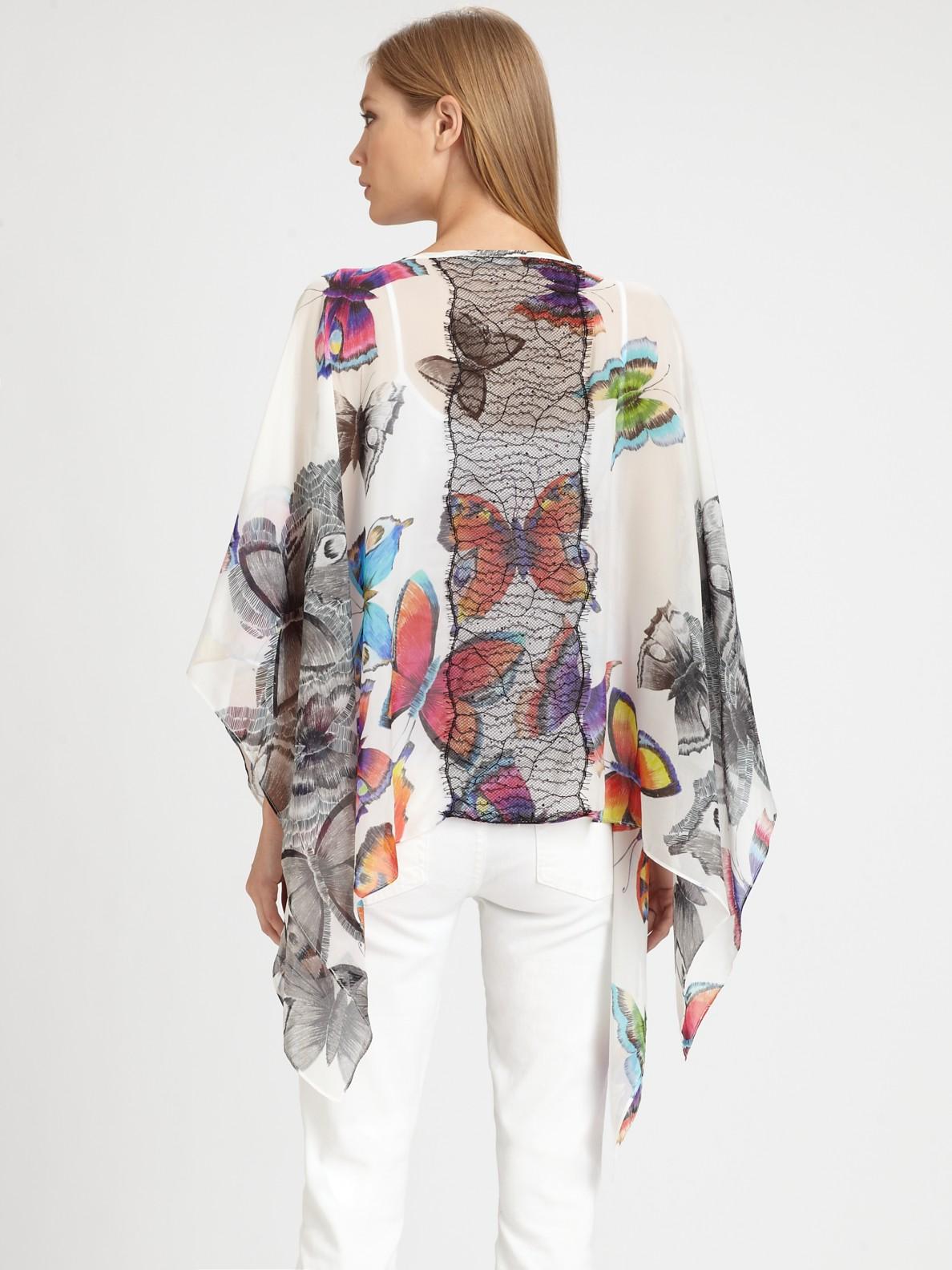 8fbdb227f38 Lyst - Royal Underground Butterfly-print Silk Kimono Top